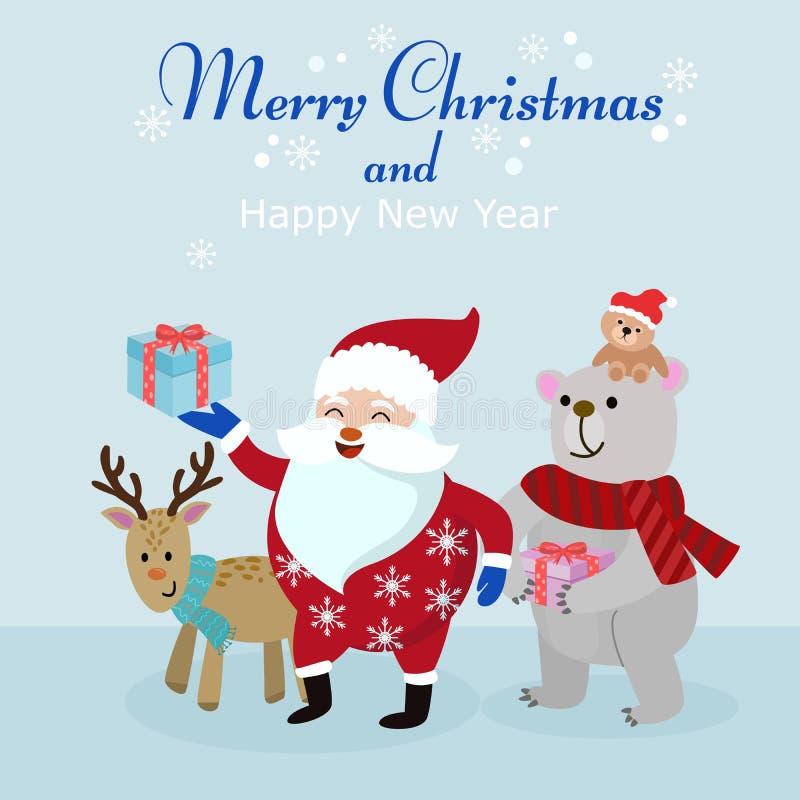 Christmas card Santa bear and deer with gift. royalty free illustration