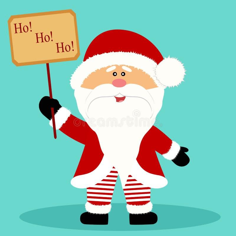 Christmas card. Santa Claus. Santa with banner. Flat design. royalty free stock photo