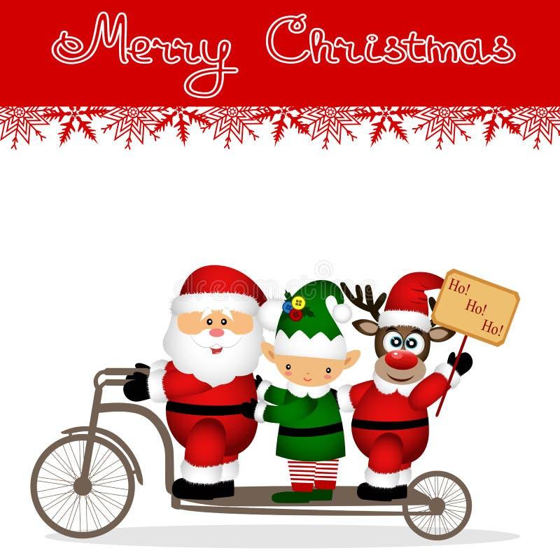 Christmas card. Santa Claus, elf and Christmas reindeer on a bicycle. stock image