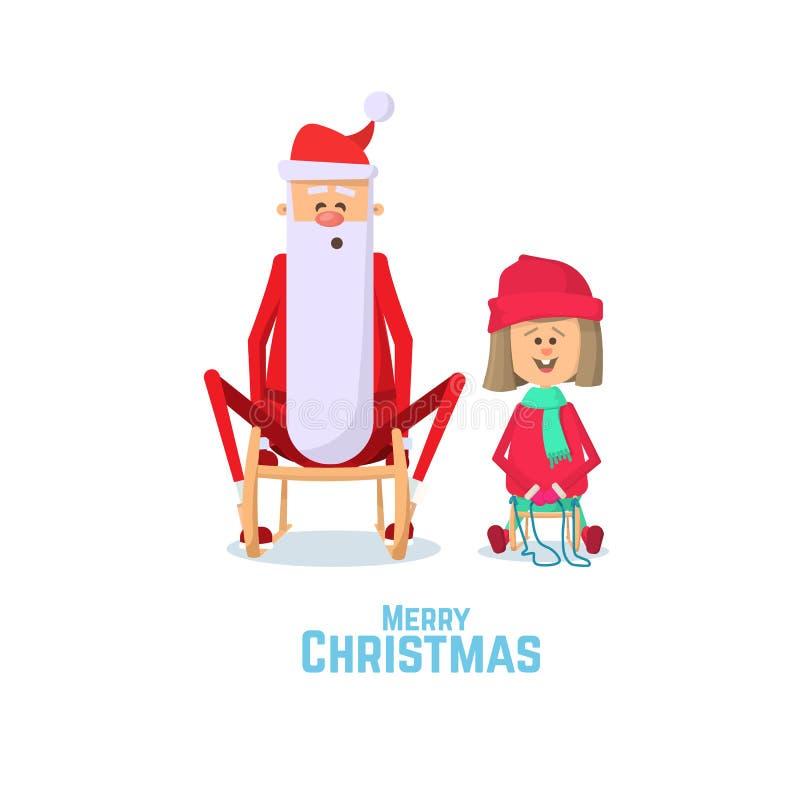 Christmas card with Santa Claus and little girl sledding. Flat Vector Illustration. vector illustration