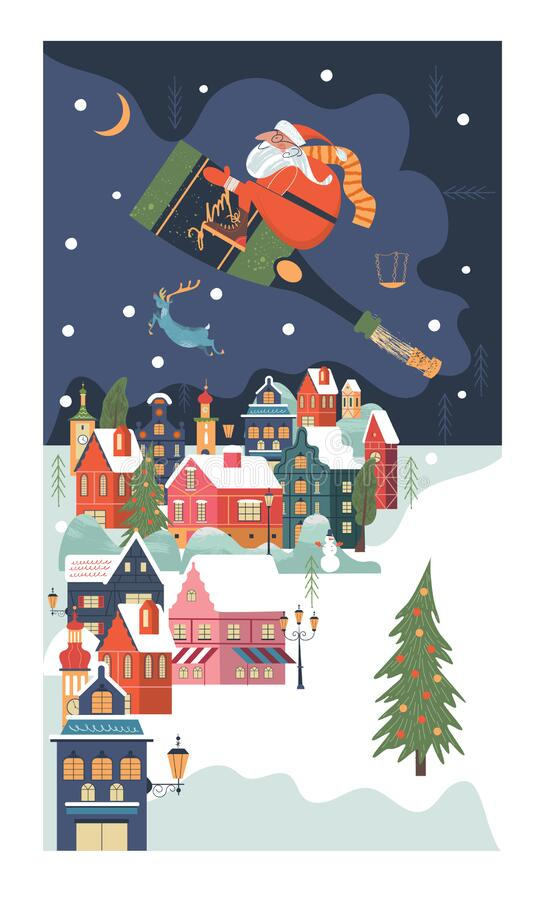 Free Christmas Card. Santa Claus With Champagne Over A Small Snow-covered City. Royalty Free Stock Images - 191869689