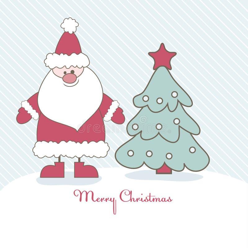 Christmas card with Santa. Vector illustration. Christmas card with Santa and Christmas tree. Vector illustration stock illustration