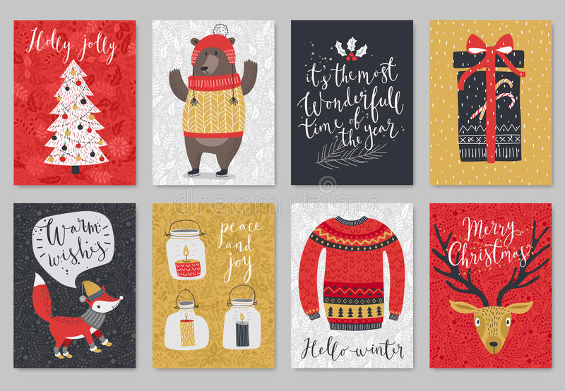 Christmas card set, hand drawn style. royalty free illustration