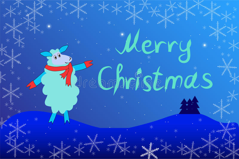 Christmas card with a sheep in scarf. With the words Merry Christmas vector illustration