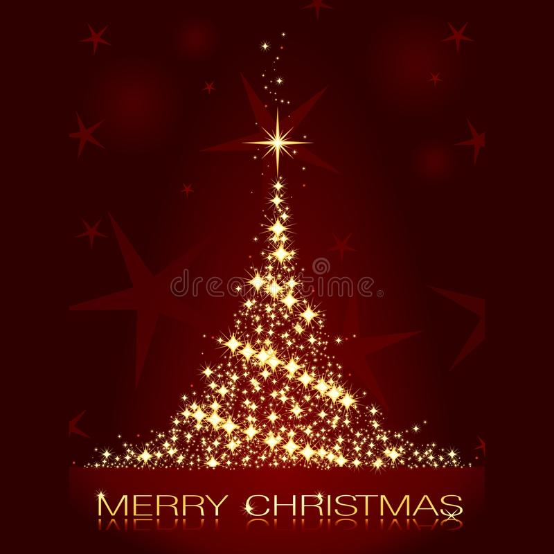 Christmas card with shining golden Christmas tree. Golden stars forming a glistening Christmas tree on dark red background royalty free illustration