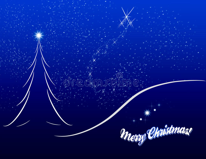 Download Christmas Card Sketch On Blue Background Stock Illustration - Illustration of holidays, merry: 16410234