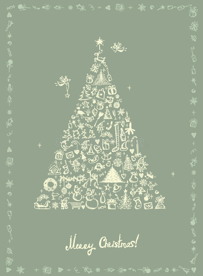 Christmas card, sketch drawing for your design stock illustration