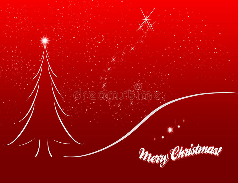 Christmas card sketch on red background royalty free illustration