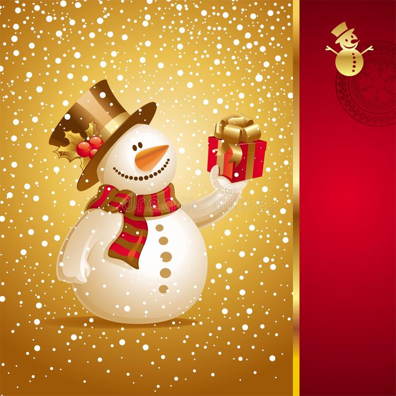Christmas card with smiling snowman. Vector Christmas card with smiling snowman