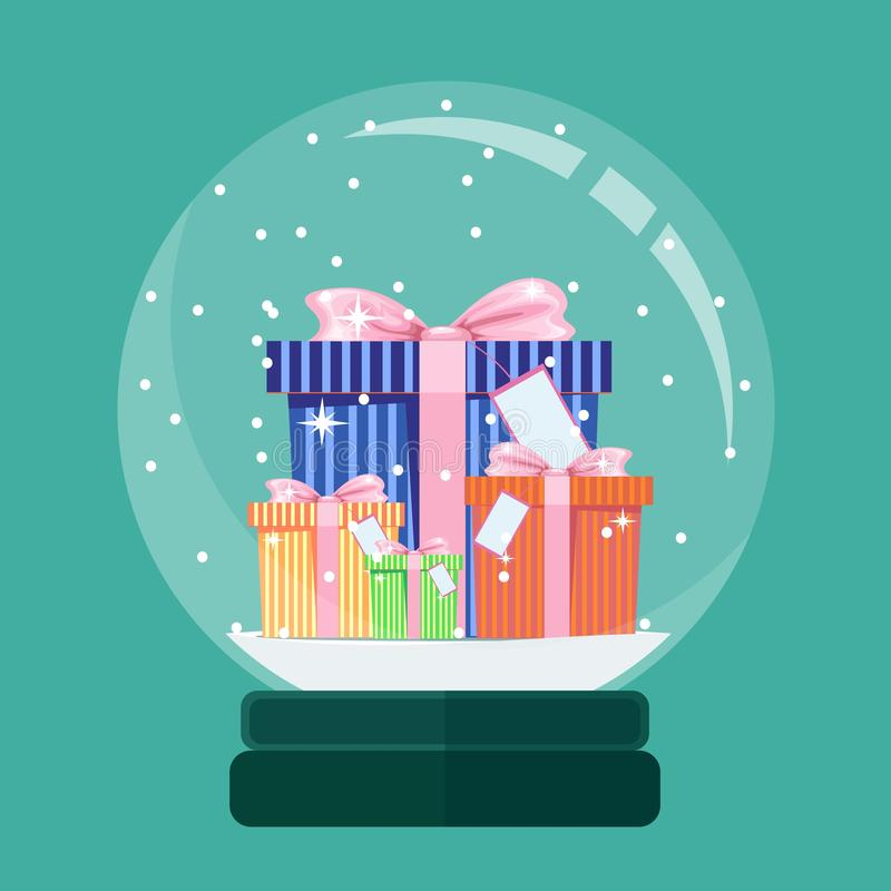 Christmas card. Snow globe with a New Years gift inside. Vector illustration royalty free illustration