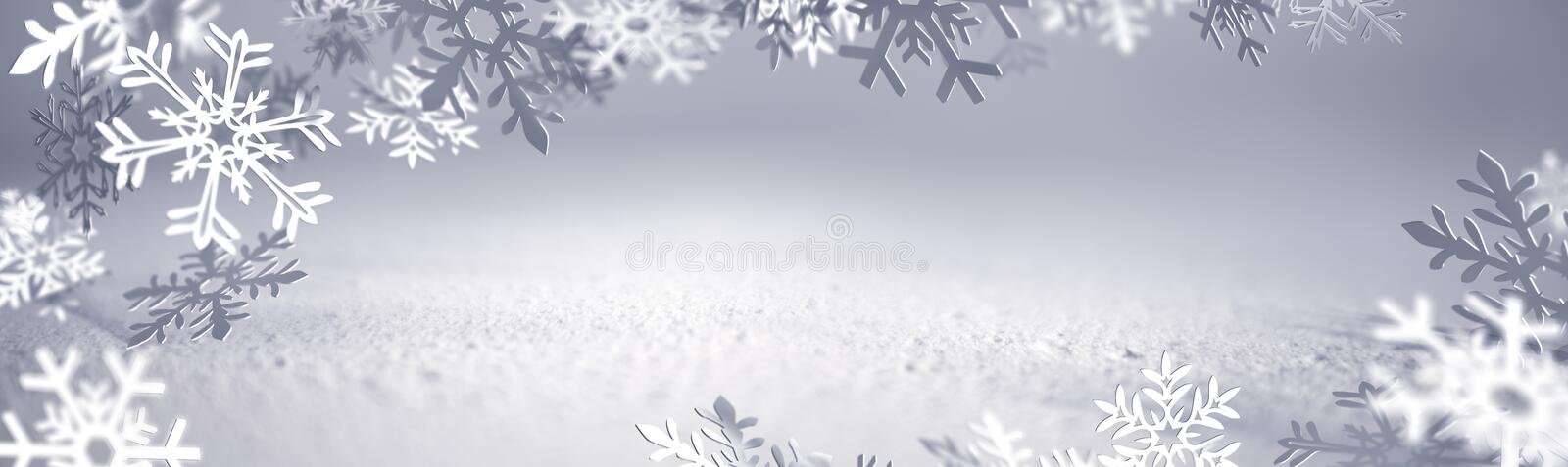 Christmas Card - Snowflakes Of Paper vector illustration