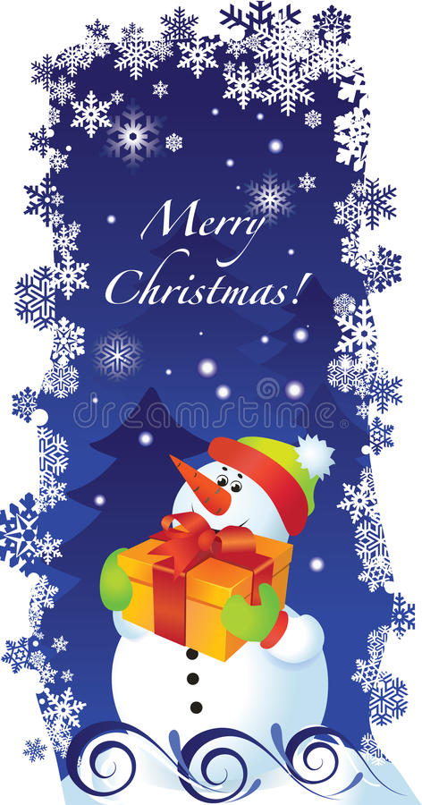 Download Christmas Card With Snowman Stock Vector - Image: 16499176