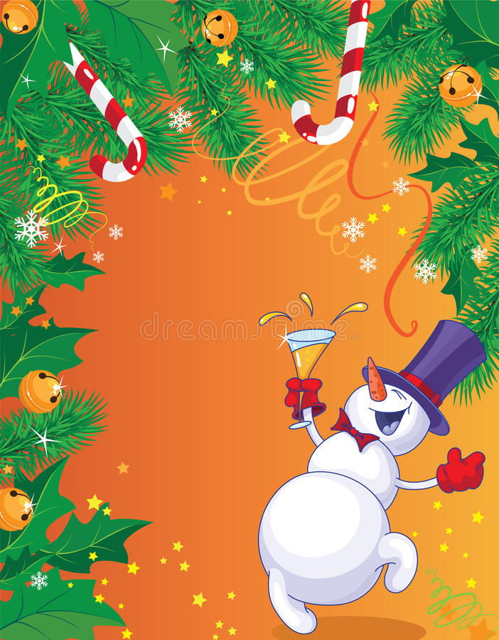Christmas Card And Snowman Royalty Free Stock Photo