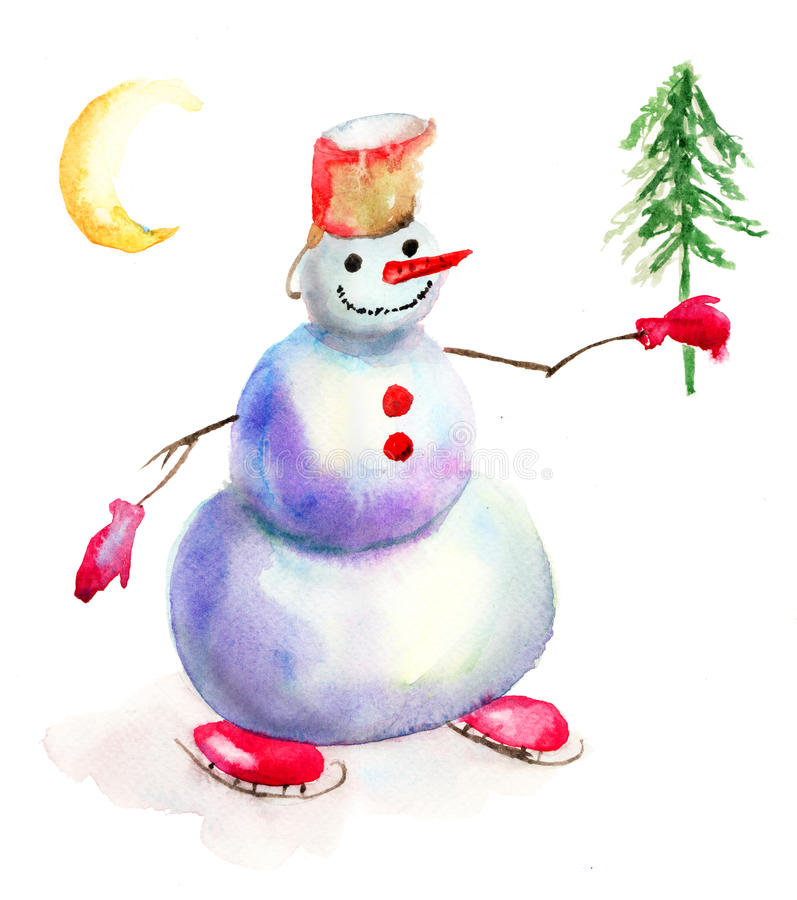 Download Christmas Card With Snowman Stock Image - Image: 27155551