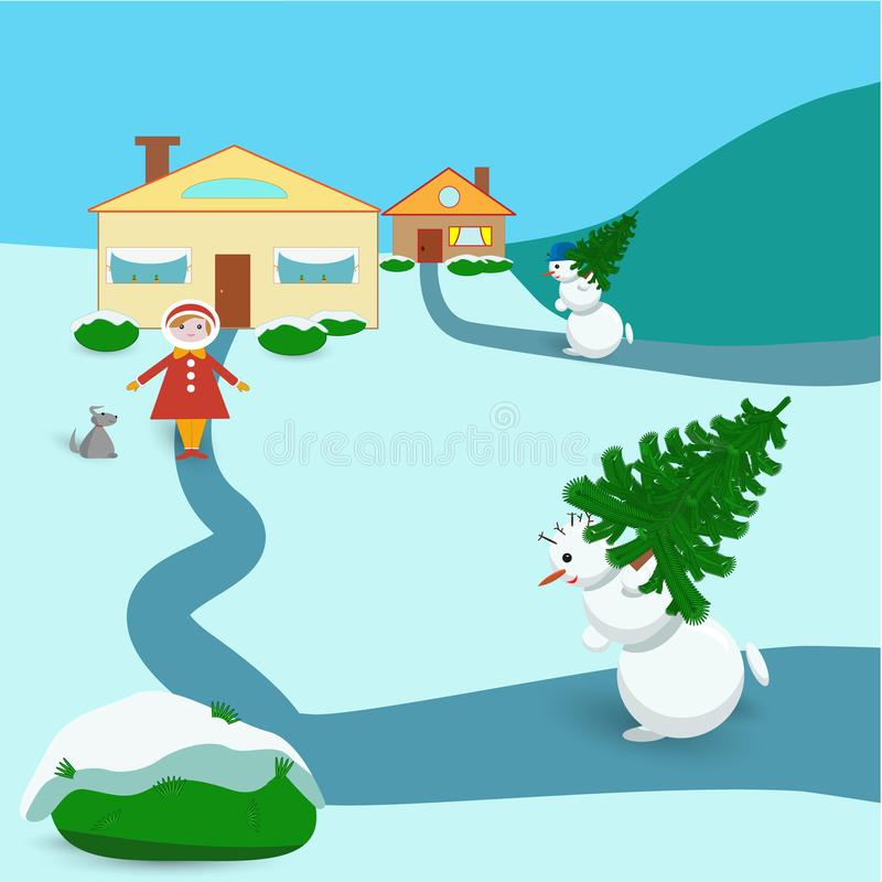 Christmas card with a snowman carrying a Christmas tree royalty free illustration