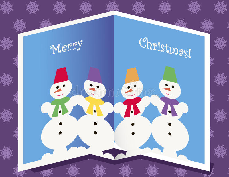 Download Christmas Card With Snowmen Stock Vector - Illustration: 27118218