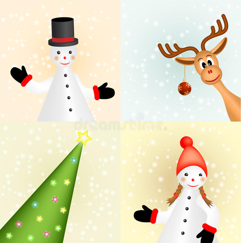 Christmas card with snowmen, raindeer and tree royalty free illustration