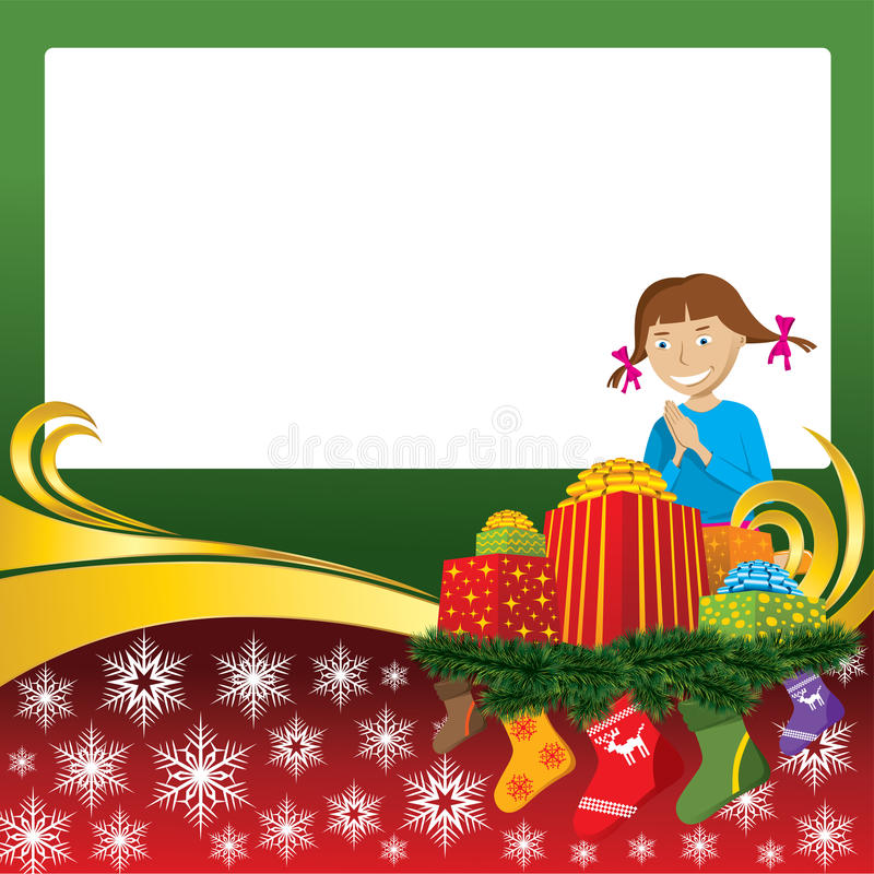 Christmas Card With Socks And Girl Royalty Free Stock Photography