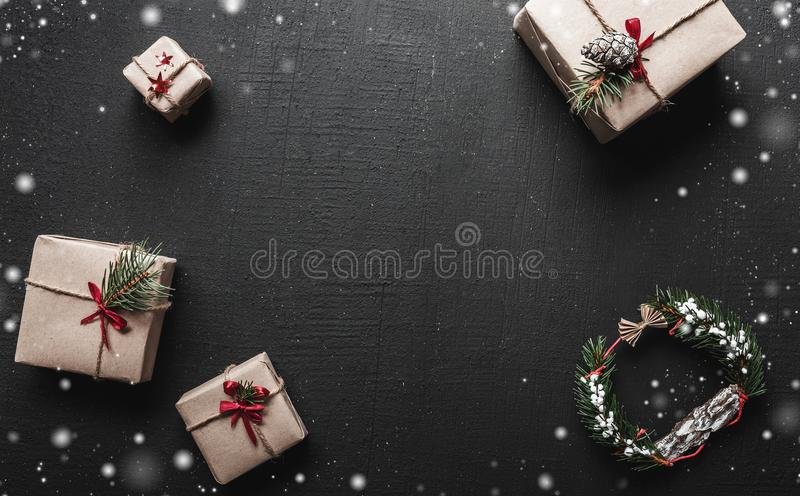 Christmas card With space for a greeting message for loved ones. Gifts that are waiting for children The Xmas ambience royalty free stock photo