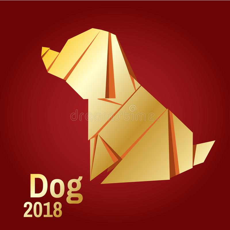 Illustration of a golden origami dog. Christmas card in the style of minimalism. Year of the dog. Stylized geometric model of a polygonal vector illustration