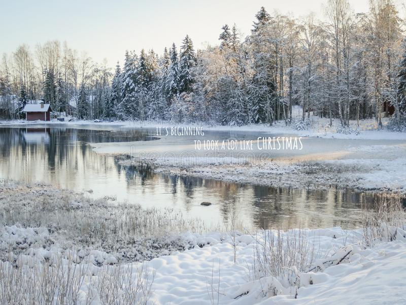 Christmas Card with Swedish winter landscape and Christmas greetings stock photography