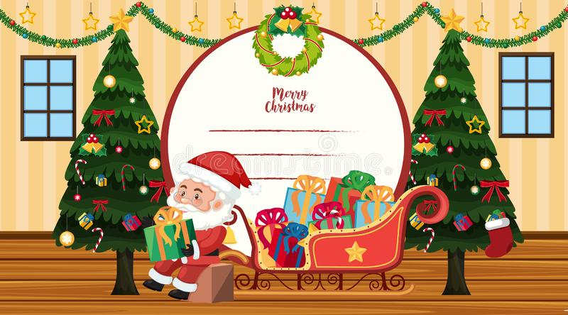 Christmas card template with Santa and trees stock illustration