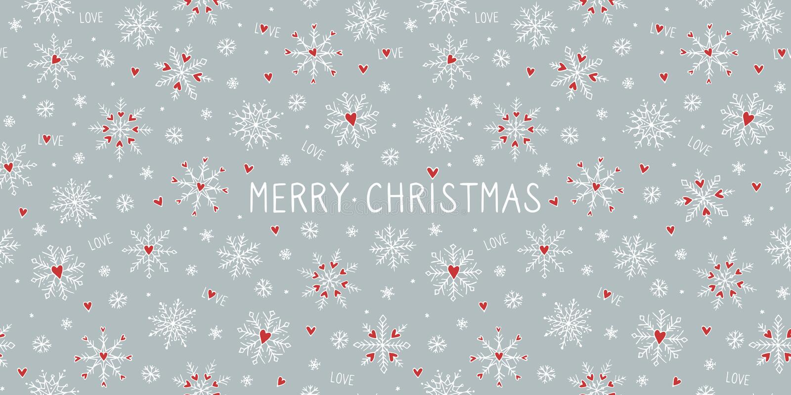 Christmas card template with snowflake hearts. Christmas card template or banner with cute hand drawn snowflakes and little red hearts royalty free illustration