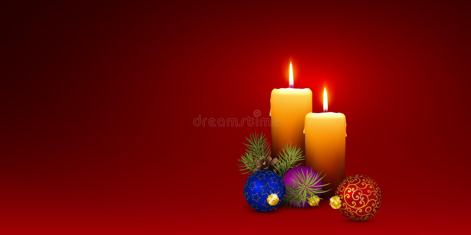 Christmas Card Template with Two Vector Candles and Red Background royalty free stock photo