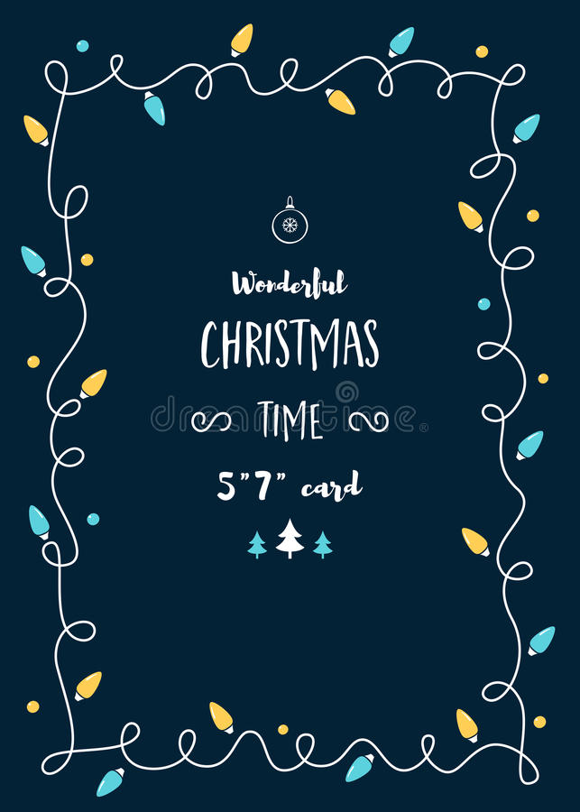 Christmas Card Template with Vintage Lights Garland and Space for Text royalty free illustration