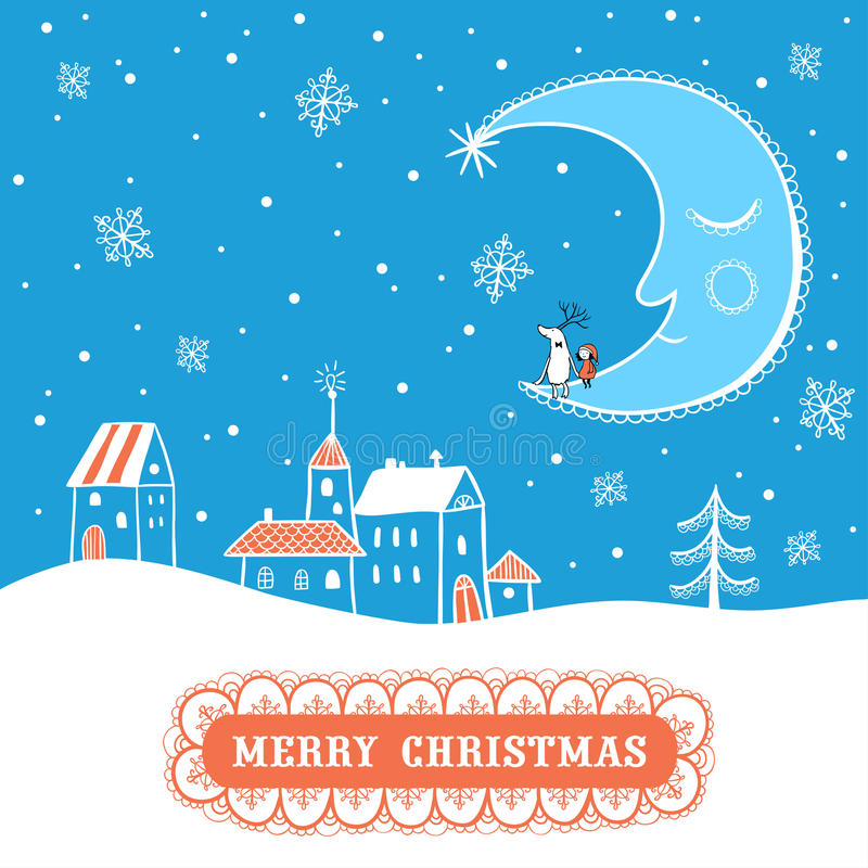 Christmas card with textbox. stock illustration