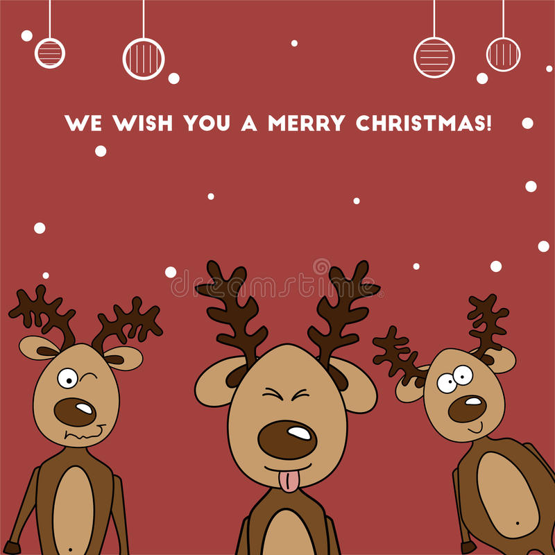 Christmas card three Jolly colorful reindeer royalty free stock photo
