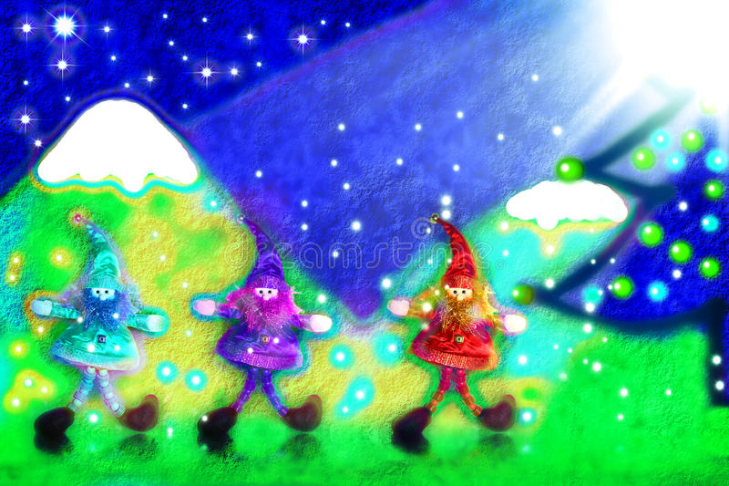Download Christmas Card, Three Santa's Elves In The Forest Stock Photo - Image: 21999096