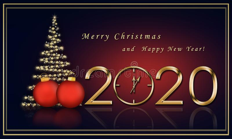 Christmas card 2020 with a Christmas tree royalty free stock images