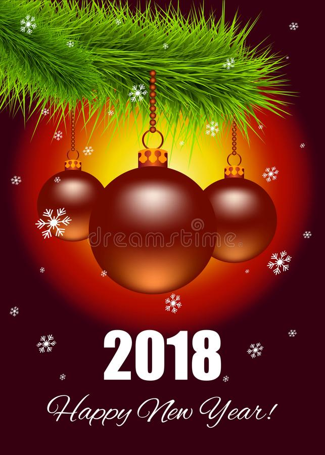 Christmas card with Christmas tree branch and Christmas balls, and the words `Happy New Year`. Vector illustration vector illustration