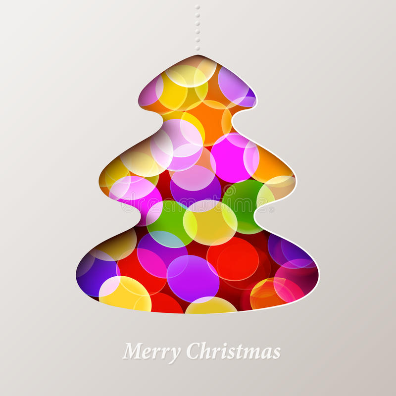 Christmas card. Vector holiday card with christmas tree and defocused lights background vector illustration