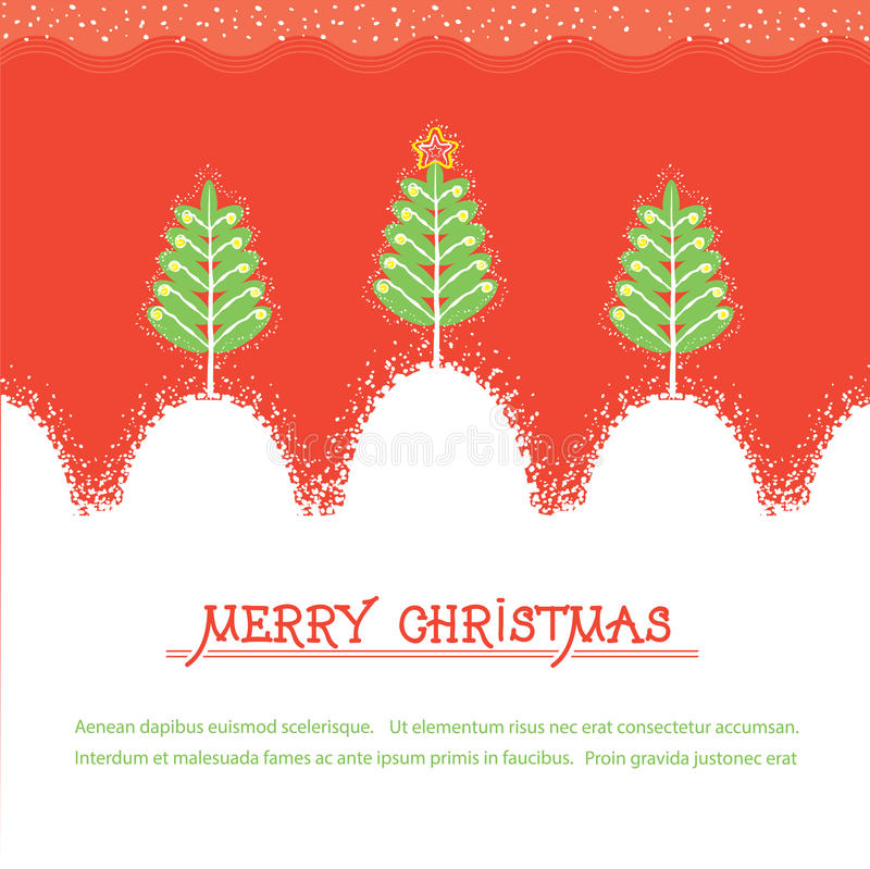 Christmas card.Vector red illusrtration with trees royalty free illustration