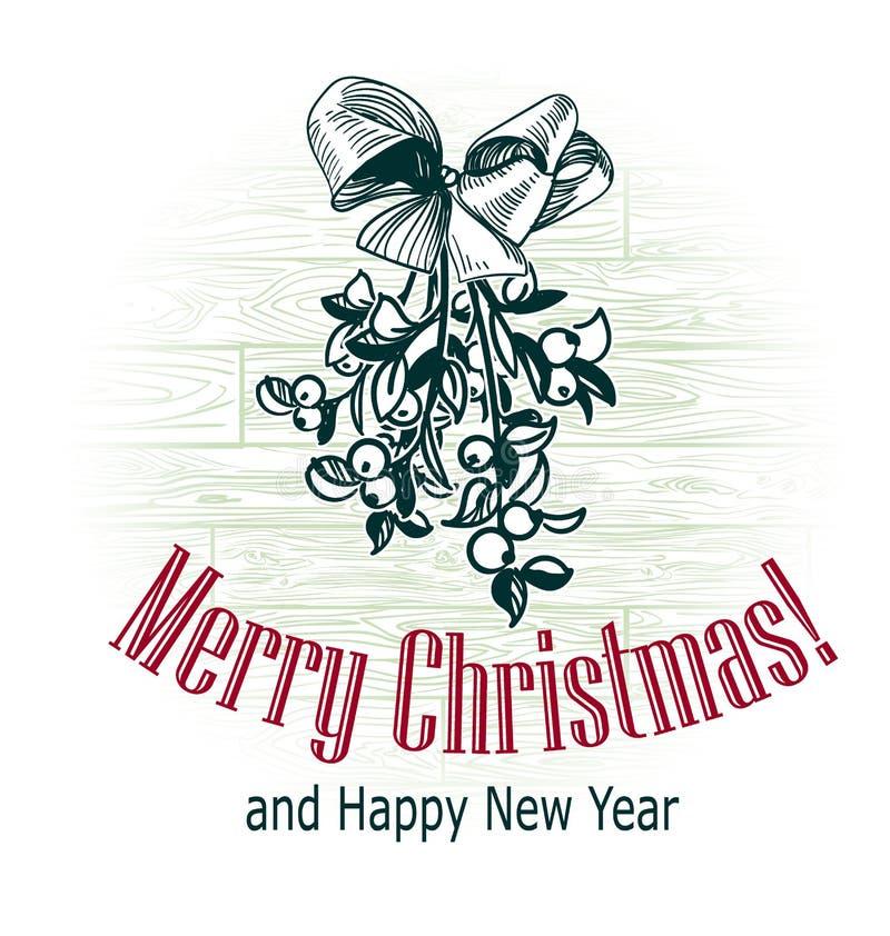Christmas card vector retro style drawn sketch mistletoe stock images