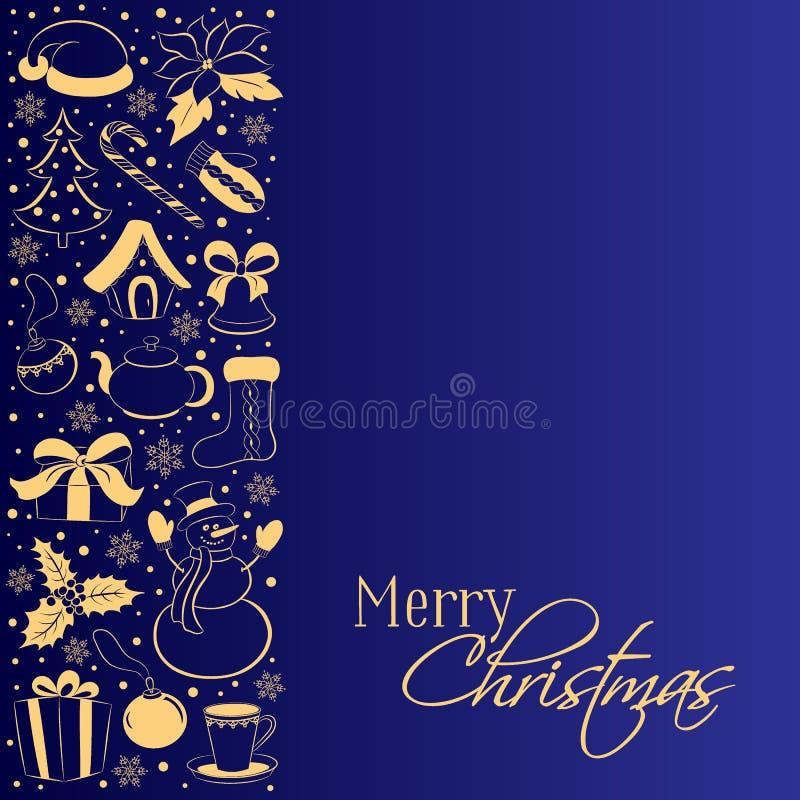 Christmas card with vertical border of winter symbols. Golden silhouettes of a snowman, gift, holly, poinsettia, Santa cap on a da vector illustration