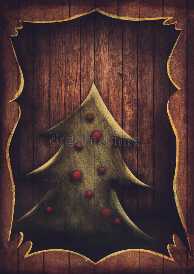 Christmas card - Vintage Christmas tree in wooden frame royalty free illustration
