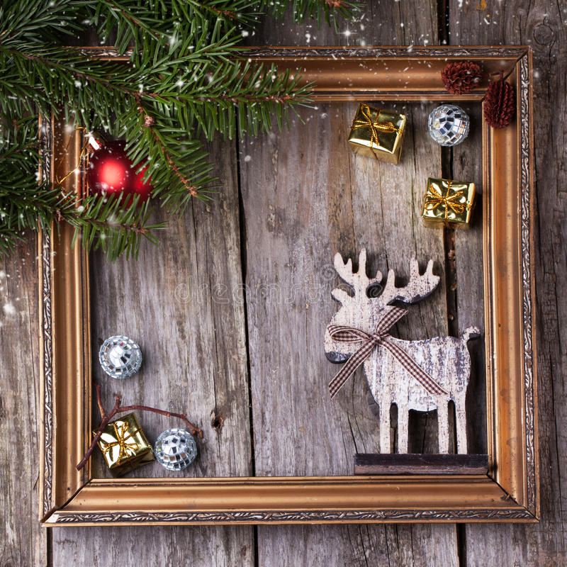 Christmas Card With Vintage Frame Stock Photo - Image of ...