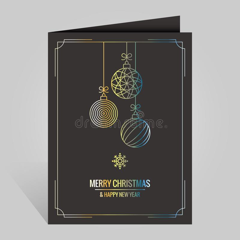 Christmas card with vintage golden xmas balls on black background royalty free illustration