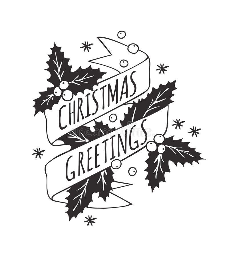 Christmas Card in Vintage Style. Hand drawn design elements. Handwritten modern badge. Holidays Vector illustration vector illustration