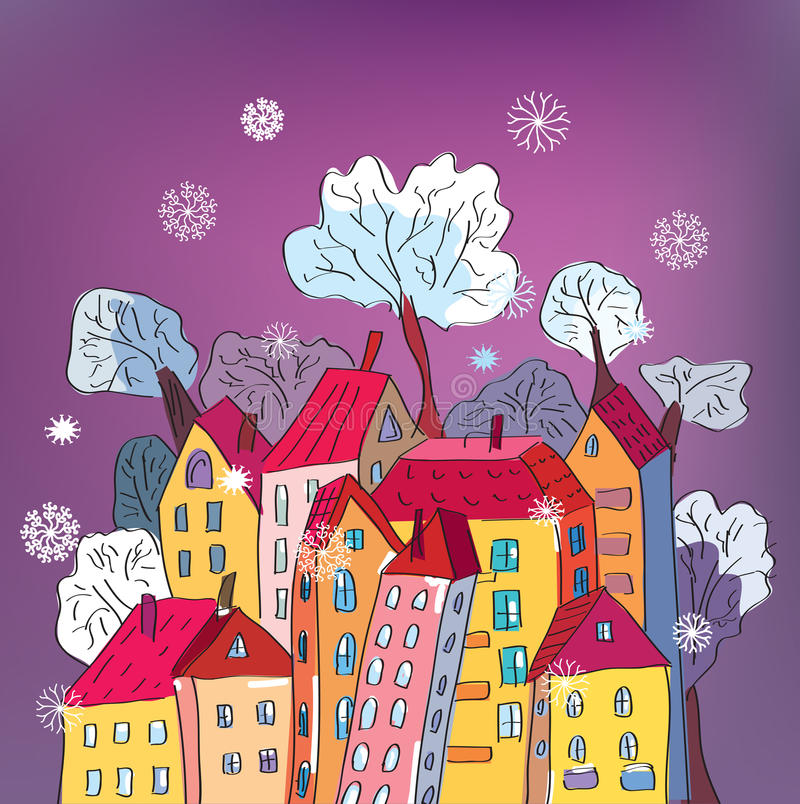 Christmas card with whimsical houses. Cartoon royalty free illustration