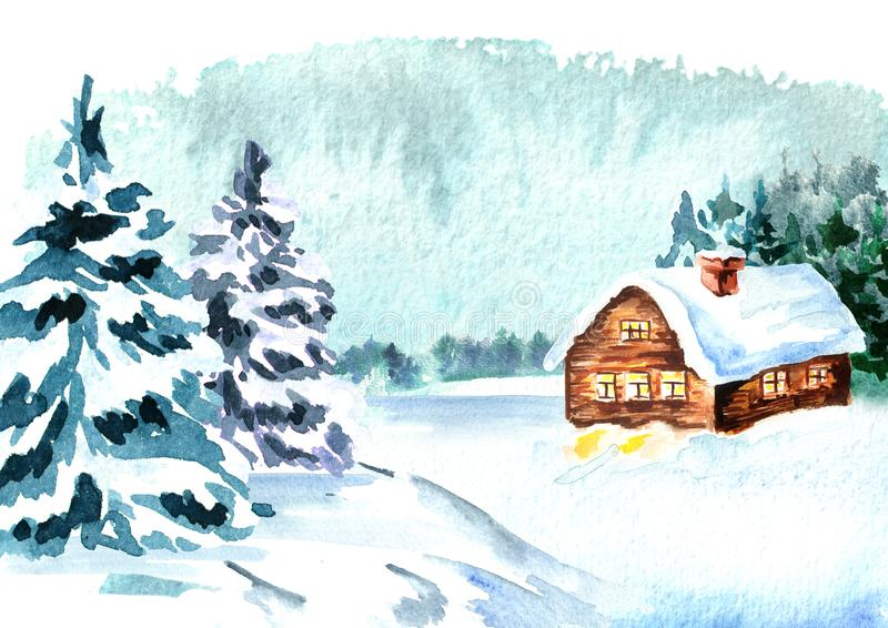 Christmas card with winter forest. Watercolor hand drawn illustration.  royalty free illustration