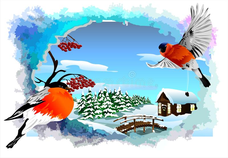 Christmas card with a winter landscape in abstract frame (vector) stock illustration