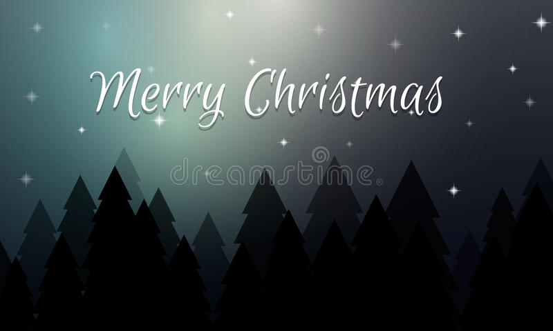 Christmas Card With Winter Night Forest And The Starry Sky Royalty Free Stock Photography