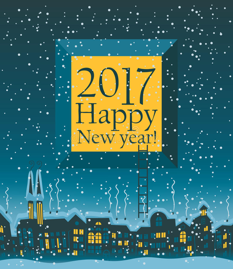 Christmas card with winter old city. With the words Happy New Year vector illustration