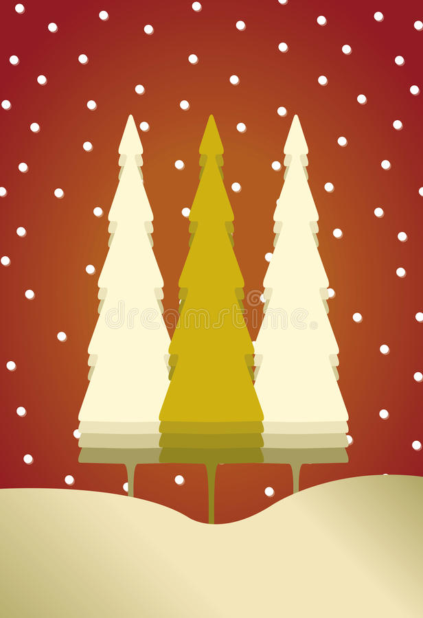 Free Christmas Card With 3 Trees And Snow Royalty Free Stock Images - 21744889