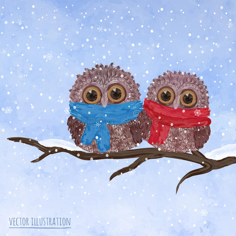Free Christmas Card With Cute Owls Stock Photography - 46602732