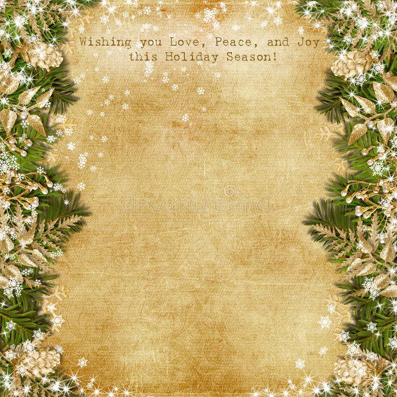 Free Christmas Card With Gold Garland On Vintage Background Stock Images - 35164124